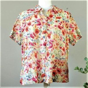 Vintage Bright Floral Button Down Shirt Blouse 616